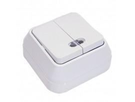 Выключатель 2-клавишный TDM Ладога с подсветкой о/у 10А IP20 белый